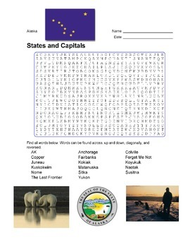 States and Capitals - Alaska State Symbols Wordsearch Puzzle