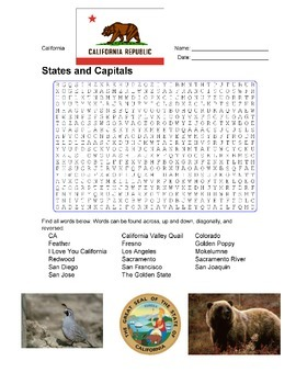 States and Capitals - California State Symbols Wordsearch Puzzle