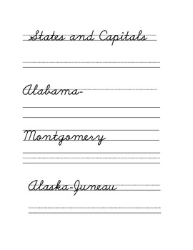 States and Capitals Cursive Writing Practice