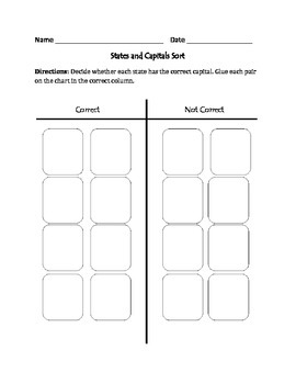 States and Capitals : Cut, Sort, and Paste Activity