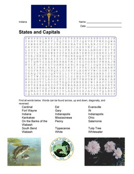States and Capitals - Indiana State Symbols Wordsearch Puzzle