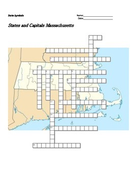 States and Capitals - Massachusetts State Symbols Crosswor