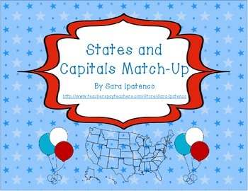 States and Capitals Social Studies Match-Up Game