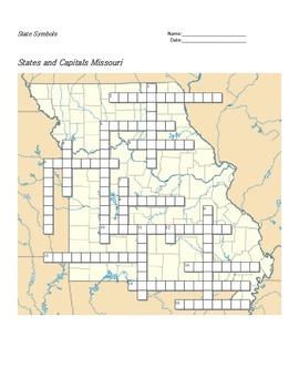 States and Capitals - Missouri State Symbols Crossword Puzzle
