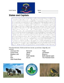 States and Capitals - North Dakota State Symbols Wordsearc