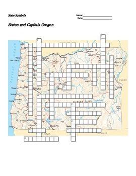 States and Capitals - Oregon State Symbols Crossword Puzzle