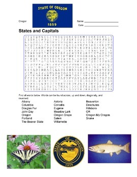 States and Capitals - Oregon State Symbols Wordsearch Puzzle