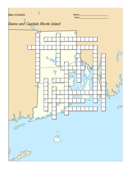 States and Capitals - Rhode Island State Symbols Crossword Puzzle