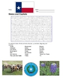 States and Capitals - Texas State Symbols Wordsearch Puzzle