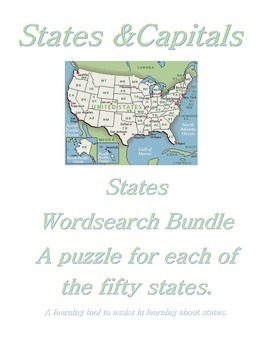 States and Capitals - A Complete Wordsearch Bundle