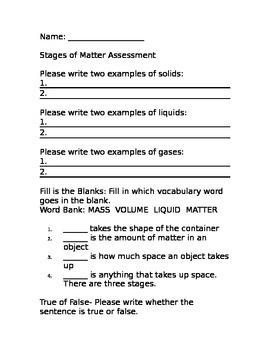 States of Matter Assessment