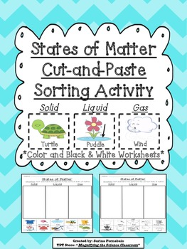 States of Matter Cut and Paste Sorting Activity