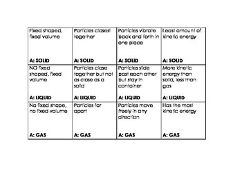 States of Matter Quiz Cards