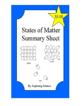 States of Matter Summary Sheet