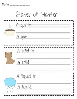 States of Matter Writing Activity