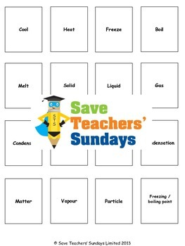 States of matter vocabulary / terminology Lesson plan and