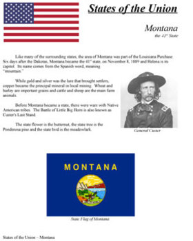 States of the Union - MT, WA, ID, WY, UT