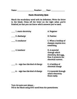 Static Electricity Quiz