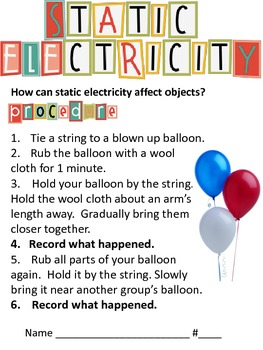 Static Electricity lab sheet