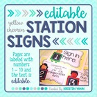 Station Signs or Center Task Cards, Yellow Chevron (EDITABLE)