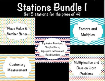 Math Stations Bundle 1  {5 stations for the price of 4!}