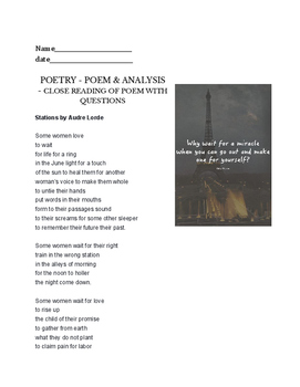 Stations by Audre Lorde - poetry assignment - writing opti