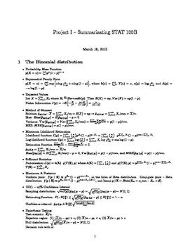 Statistical Distribution Formula Sheet Summary Everything