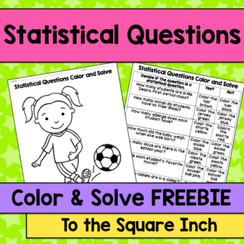 Statistical Questions Color and Solve No Prep Activities,