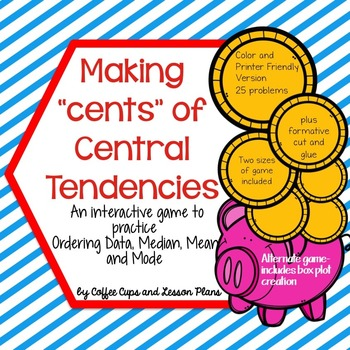 Statistics Central Tendencies Interactive Game: Mean, Median Mode