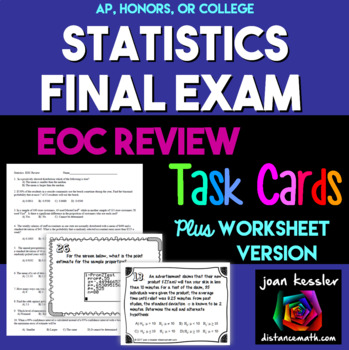Statistics Final Review Task Cards