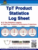 FREE Statistics Log Sheet, Data Analytics, TpT Product Per