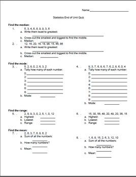 Statistics Scaffolded Intro - Mean, Median, Mode & Range