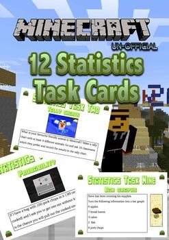 Statistics Task Cards - Minecraft Themed - NZ level 2 unit