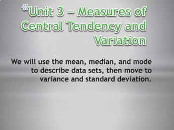Statistics Unit Plan 3 - Measures of Central Tendency and