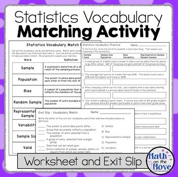 Statistics Vocabulary - Matching Activity, Worksheet and A