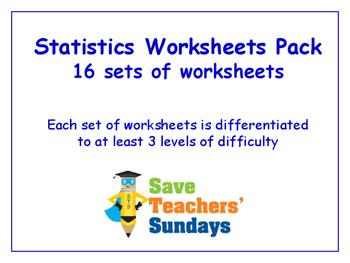 Statistics Worksheets Bundle/Pack (16 sets for 2nd-4th grade)