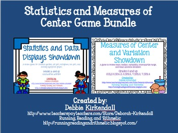 Statistics and Measures of Center Showdown Game Bundle