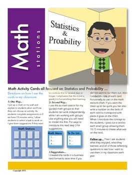 Statistics and Probability Math Station Activity Cards