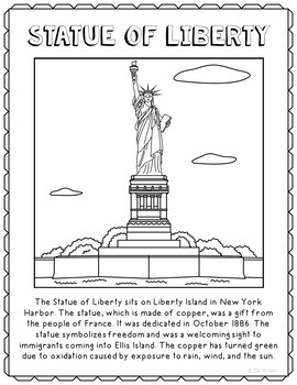 Statue of Liberty Informational Text Coloring Page Activit