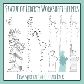 Statue of Liberty Worksheet Helper Clip Art Pack for Comme