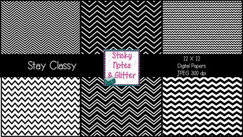 Stay Classy {6 Chevron Digital Papers for Personal and Com