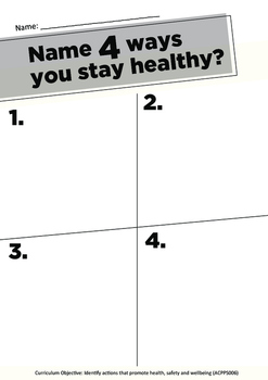 Staying Healthy A3 Worksheet - Health Curriculum Aligned