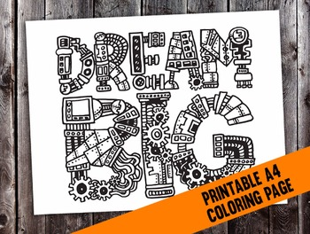 """Steampunk """"Dream Big"""" Intricate Coloring Page - digital do"""