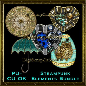 Steampunk Elements Bundle Transparent Full Size PSD Templa