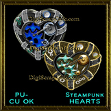 Steampunk Hearts Element Transparent Full Size PSD Templat