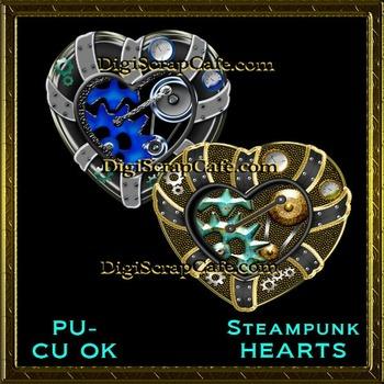 Steampunk Hearts Element Transparent Full Size PSD Templat