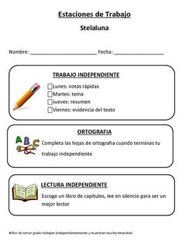 Stelaluna in Spanish work station packet