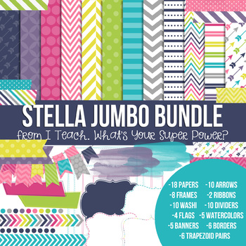 Digital Papers and Frames Stella Jumbo Set