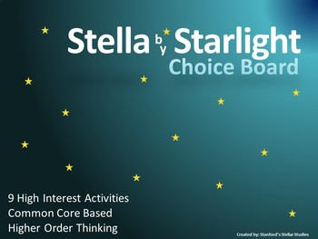 Stella by Starlight Choice Board Tic Tac Toe Novel Activit