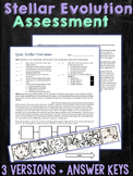Stellar Evolution Astronomy Performance Task Quiz Assessment